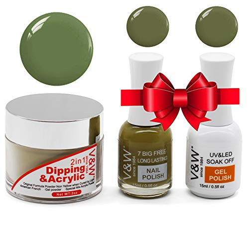2 in 1 Dipping Dip Acrylic Powder Green, 2 Ounce/56g, UV/LED Light Free Odorless, Plus Extra Gel Nail Polish & Nail Polish for Nail Salon Studio Home Use (R3992) from I.B.N