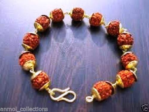 5 mm Rudraksha bracelet with gold plate Caping for yoga, meditation & prayer