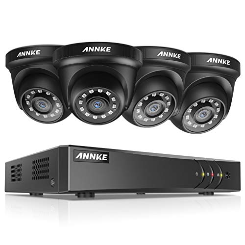 ANNKE 8CH Surveillance Security Camera System 1080P Lite H.264+DVR Recorder and (4) Outdoor 1080P 2MP CCTV Dome Cameras with Ultra Clear Night Vision, Email Alert with Snapshots, NO Hard Drive