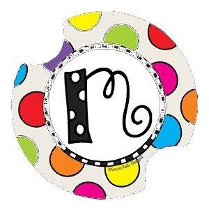 Polka Dotted Monogram M Drink Coasters - Style DLYMM