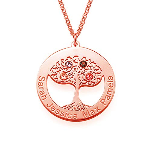 KIKISHOPQ Personalized Mother Tree Birthstone Necklace Custom Necklace(Rose-Gold-Plated-Base 18) ()