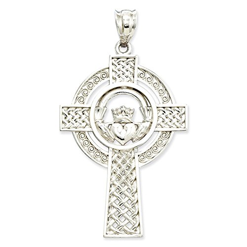 Lex & Lu 14k White Gold Celtic Claddagh Cross Pendant-Prime (Claddagh Cross White Celtic Gold)