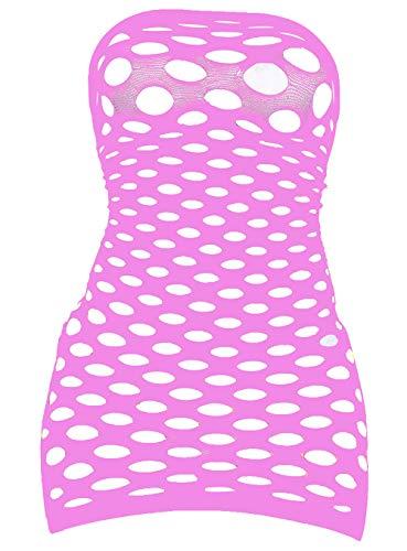 (LemonGirl Women's Mesh Lingerie for Women Fishnet Babydoll Mini Dress Free Size Bodysuit Pink)
