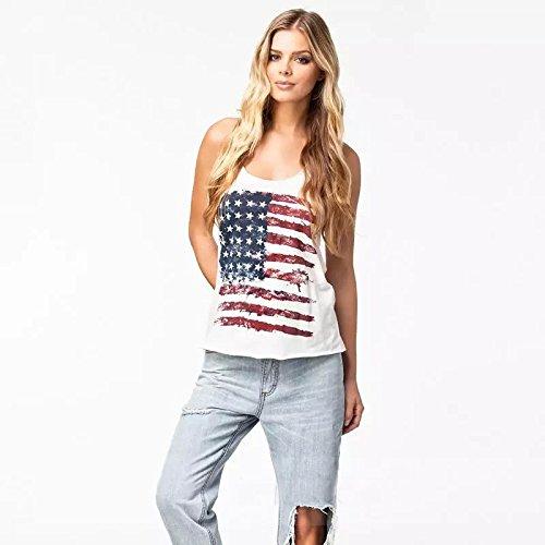 Culater® Drapeaux Nationaux des États-Unis Print Blouse Femme Gilet sans Manches shirt