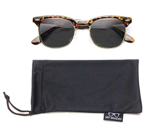 Wayfarer Sunglasses Classic 80's Vintage Style Design (Polarized Tort./Gold w/My Shades Pouch)