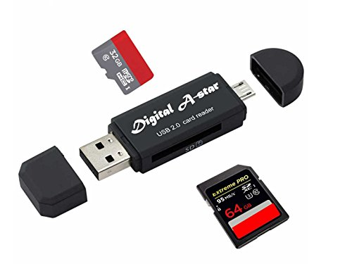 Digital A-star SD card reader/SD Card adapter SD/Micro SD Card Reader/Micro OTG/USB 2.0 Multi-Function Card Reader/Writer for PC & Laptop & Smart Phones & Tablets