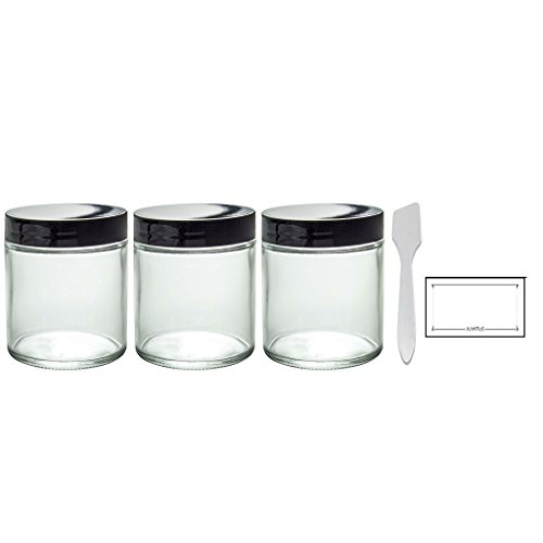 Clear Thick Glass Straight Sided Jar - 4 oz / 120 ml (3 pack) + Spatulas and Labels (Glass Cosmetic Containers)
