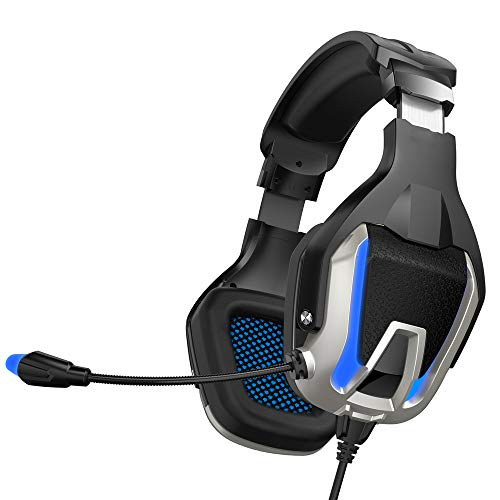 PS4 Headset, PC Gaming Headset Over-Ear Gaming Headphones with Mic 3.5Mm Connection Line LED Light Noise Cancelling…