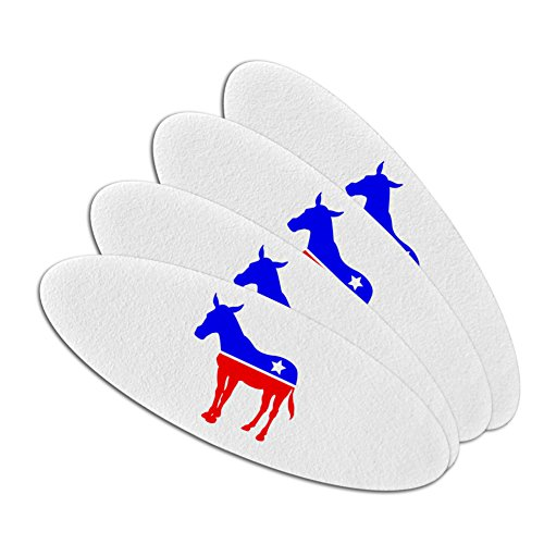 Political Emery Boards - Democrat Donkey Liberal America Political Party Double-Sided Oval Nail File Emery Board Set 4 Pack