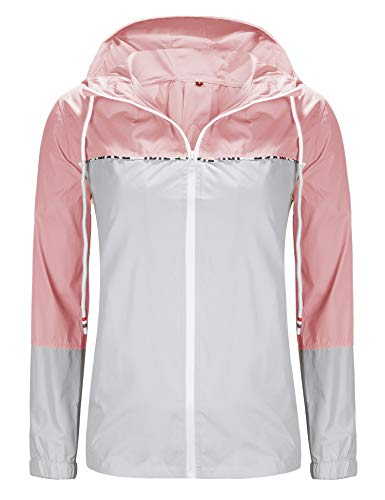 UUANG Women's Safety Rain Gear Waterproof Raincoats Pink and Gray