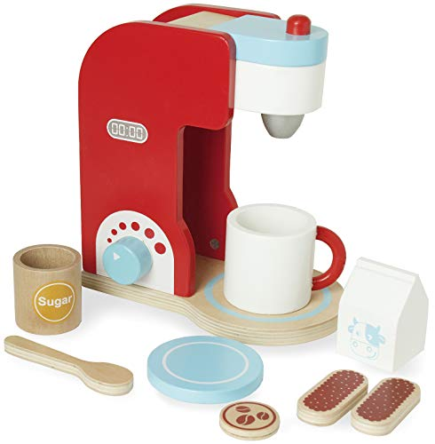 Blue Panda Kids Wooden Cafe Barista Toy Coffee Maker Kitchen Play Set, Ages 2 and Up, 9 - Coffee Set Maker Play