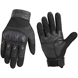 RIGWARL Men's multifunction tactical glove - outdoor gloves - full finger gloves motorcycle gloves bike gloves as a protective gloves mountaineering (black, M)