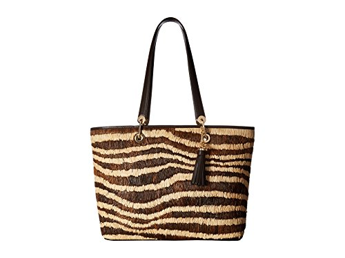 - MICHAEL Michael Kors Womens Malibu Raffia East West Tote Handbag Bronze Large