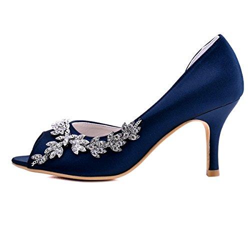 f170c890a ElegantPark Women Peep Toe Rhinestones Pumps High Heel Satin Evening Prom  Wedding Shoes