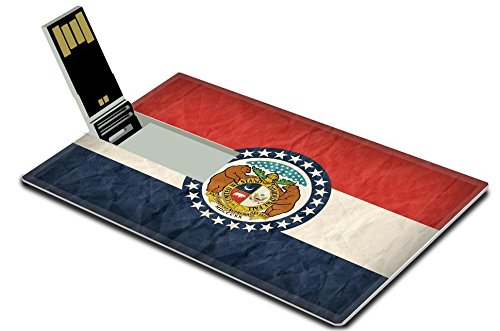 Luxlady 32GB USB Flash Drive 2.0 Memory Stick Credit Card Size Missouri flag on paper texture retro vintage style IMAGE - Independence Center Missouri