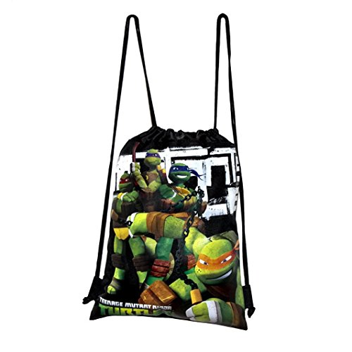 Disney Teenage Mutant Ninja Turtle Drawstring String Backpack School Sport Gym Tote Bag - Black