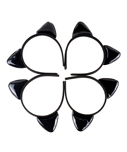 Irish Dancing Costumes Uk (RufNTop Cat Ears Headband Girls Kids Party Decoration Headdress Cosplay Costume Headwear Hair Accessories(Glossy All Black One Size))