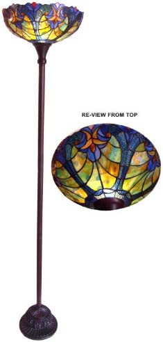 Chloe Lighting Liaison Tiffany-Style 1 Light Victorian Torchiere Floor Lamp 15 Shade
