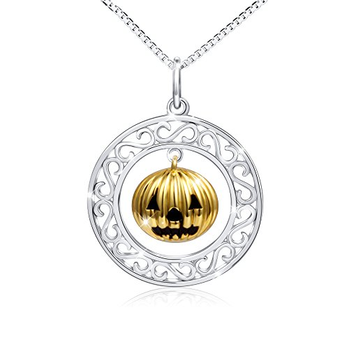 """925 Sterling Silver Halloween Gothic Pumpkin Pendant Necklace for Women 18"""""""