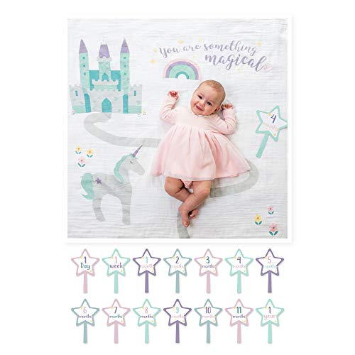 Lulujo Baby Baby's First Year Milestone Blanket and Cards Set, Something Magical