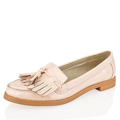 Mujer Chica Oficina Flequillos Mocasines con Borlas Planos Casual Zapatos Colegio Talla - Nude, 37 EU: Amazon.es: Zapatos y complementos
