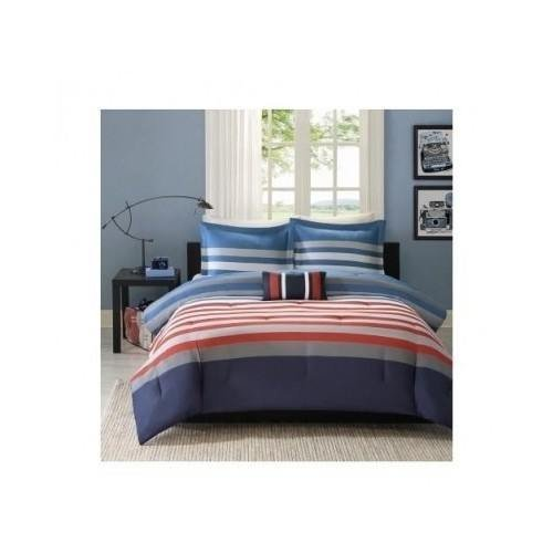 Reversible Kids Teen Boys Red Blue White Stripes Comforter Bedding Set (Full/queen) Includes Mouse Pad