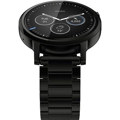 Motorola 2nd Generation Moto 360 46mm Stainless Steel Smartwatch - Renewed (Black)