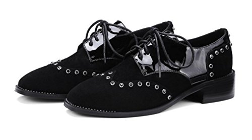 casual rivet high Black women's lace Low heels Matte Single Female shoes leather stitching ZCH heeled with shoes w8qfaxAn75