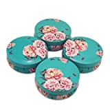 Floral Metal Tin Jars with lid,DIY Candle Jar, Jewelry Food Storage Case Candy Container Earphones Case-4PCS