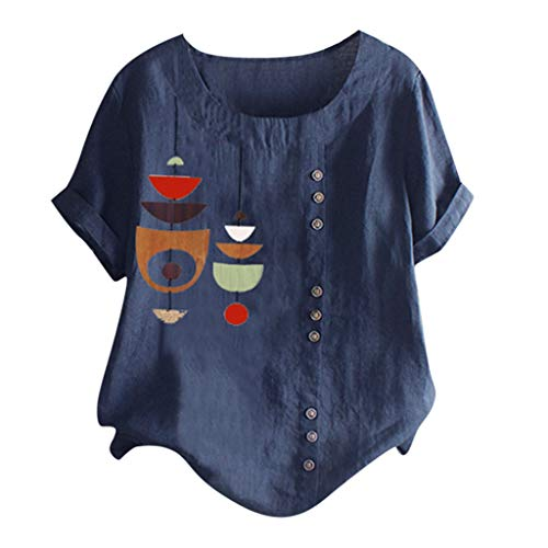 LEKODE Women T-Shirt Casual Plus Size Shirt O-Neck Printed Loose Button Blouse Short Sleeve Linen Tops(Navy,5XL(18))]()