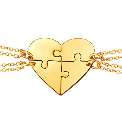 U7 BFF Necklace for 2/3/4 Stainless Steel Chain Personalized Family Love/Friendship Jewelry Set Free Engraving Heart Pendants (Set of 4 Gold (Blank)) ()