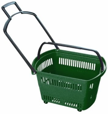 "Supermarket Large Size Rolling Shopping basket ""GREEN"" Plastic set of 3 (Three). 24"" X 15.7"" X 15.7"" High For Retail Store w/ Pull Handle W/4 Swivel Wheels by Market Fizz"
