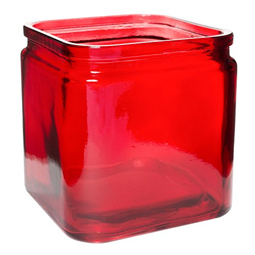 """Royal Imports Flower Rose Glass Lip Cube Vase Decorative Centerpiece for Home or Wedding - 5"""" Tall, 5"""" Opening, Red"""