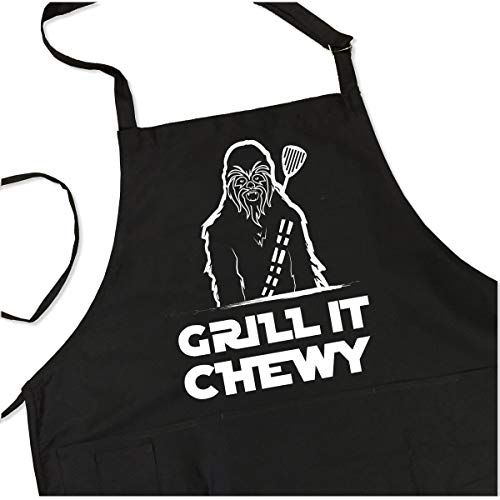 Grill it Chewy BBQ Grill Apron - 1 Size Fits All Chef Apron Poly/Cotton 4 Utility Pockets, Adjustable Neck and Long Waist Ties