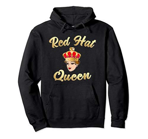 (Red Hat Society Queen Gift Pullover Hoodie)