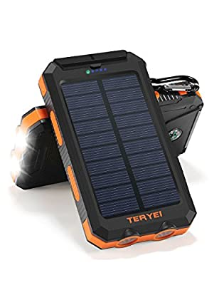 Solar Charger Teryei Solar Power Bank 15000mAh External Backup Outdoor Cell Phone Battery Charger with Dual USB Port,Dual LED Flashlights,Solar Panel for iPhone,Samsung