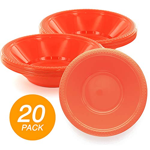 Orange Peel Cereal Bowls - SparkSettings Reusable Plastic Bowls Washable BPA Free Cereal Bowl Perfect for for Salad, Fruit, Dessert, Snack, Small Serving and Mixing Bowls - Orange Peel, Pack of 20