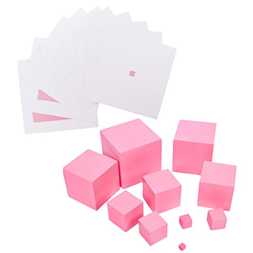 Price comparison product image Dolity Pink Tower & Contrast Cards for Kids Montessori Preschool Teaching Aid Christmas Gift