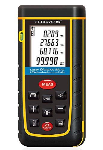 Laser Distance Meter 100m 328ft, FLOUREON Digital Laser Distance Measure...