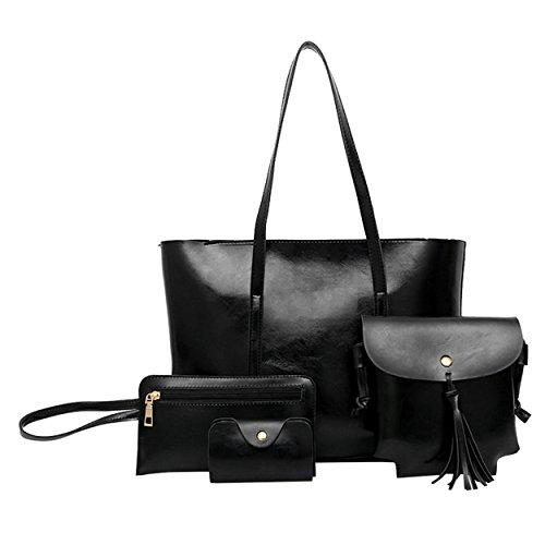 Handbags M amp;A Tote Purse Ladies Shoulder Bag Black 4Pcs Set Womens aaOqEwxg4