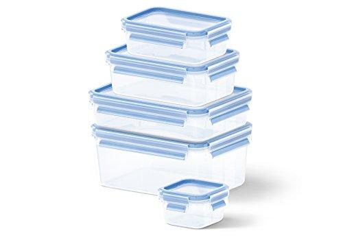 EMSA 512753 Clip & Close 5 Piece Set of Storage Boxes, Various Sizes, Transparent/Blue