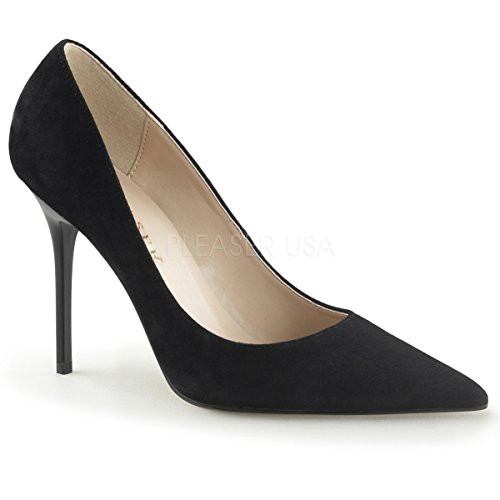 Pleaser Classique-20, Women's Closed-Toe Pumps Blk Suede