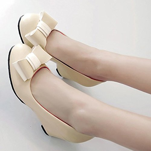 Easemax Womens Elegant Bows Round Toe Mid Wedge Heel Slip On Pumps Shoes Apricot kwvkNytS9