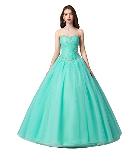 Engerla Women's Sweetheart Beading Bodice A-line Sweep Train Quinceanera Dress Mint