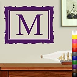 "StikEez Purple 20"" Letter M Framed Monogram Fun Cute Fancy Decal"