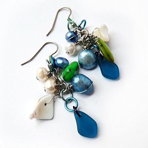 Blue Cultured Sea Glass & Pearl Cluster Dangle Earrings - Handmade Wire Wrapped Blue, Green, Silver Drop Earrings - Christmas Gift , Hanukah Gift, Gift for Women - Sensitive Ears, Hypoallergenic Handmade Wire Wrapped Earrings
