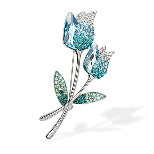 YYBONNIE Elegent Swarovski Element Crystal Tulip Flower Brooch Pin for Wedding Birdal Women Mother Gift Banquet Dinner Jewlery (Blue)