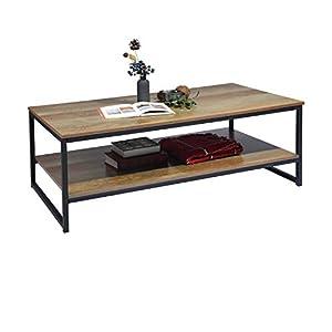 MEUBLE COSY Table Basse Salon avec Étagère Meuble TV chêne Large Espace de Rangement table basse design moderne, Chêne…