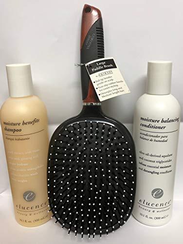 - Elucence Moisture Benefits Shampoo 8oz and Moisturizing Balancing Conditioner 8oz w/FREE HairArt Paddle Brush