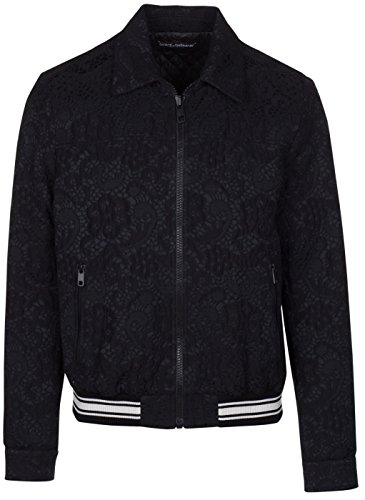 Dolce & Gabbana Men's Black Floral Jacquard Zip Up Bomber Jacket, L, - Clothing Dolce & Gabbana